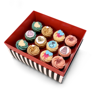 box of wedding cupcakes