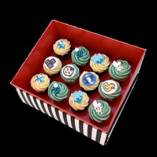 קופסת מתנה 12 קאפקייקס בינוני ללידת בן