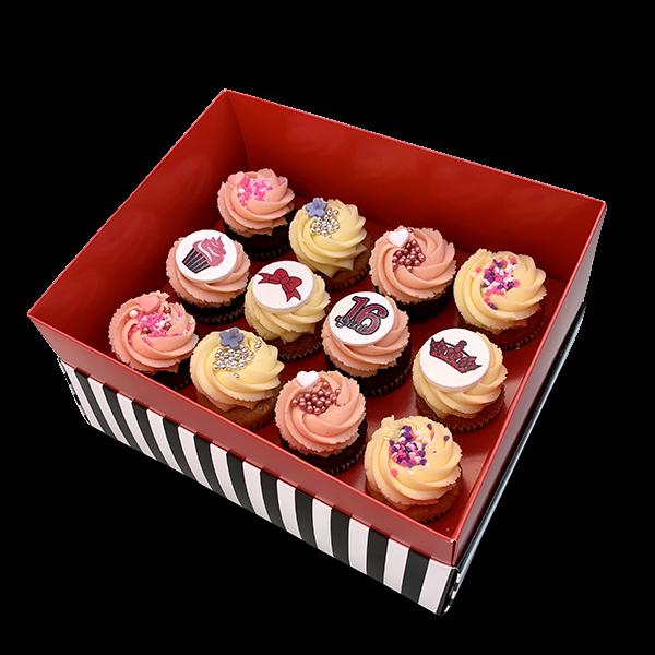 קופסת מתנה 12 קאפקייקס בינוני סוויט סיקסטין