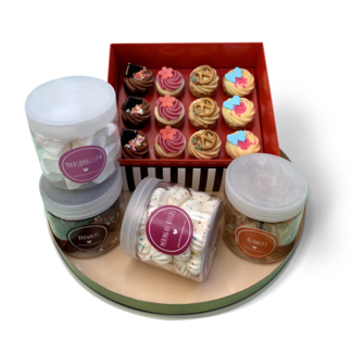 large box set: cupcakes, brownies, blondies, meringue, marshmallow