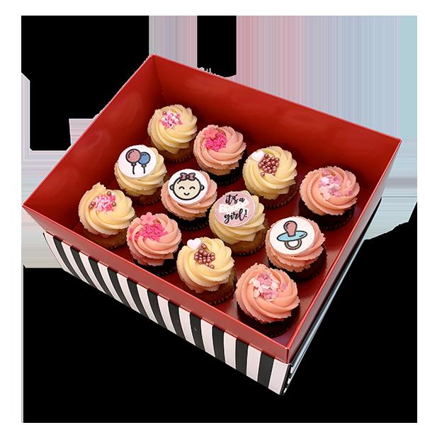 קופסת מתנה 12 קאפקייקס בינוני ללידת בת